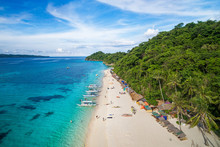 Boracay Island, Philippines, Aerial View Of Idyllic White Sand Beach