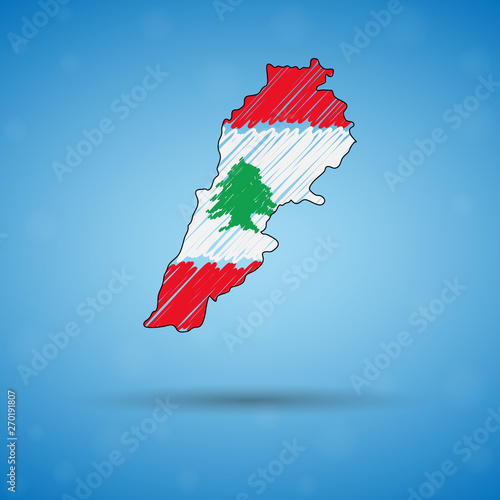 Scribble map of Lebanon Fotobehang