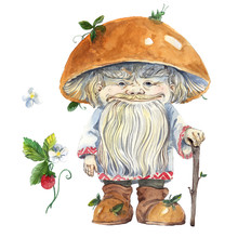 Watercolor Magic Mushroom Old Man