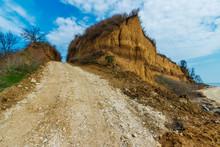 The Ground Road Leading Upward Through Steep Clay Cliffs. Russia, Azov Sea, Taganrog Bay