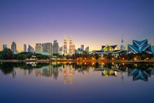 Skyline Of Kuala Lumpur By The Lake At Dusk