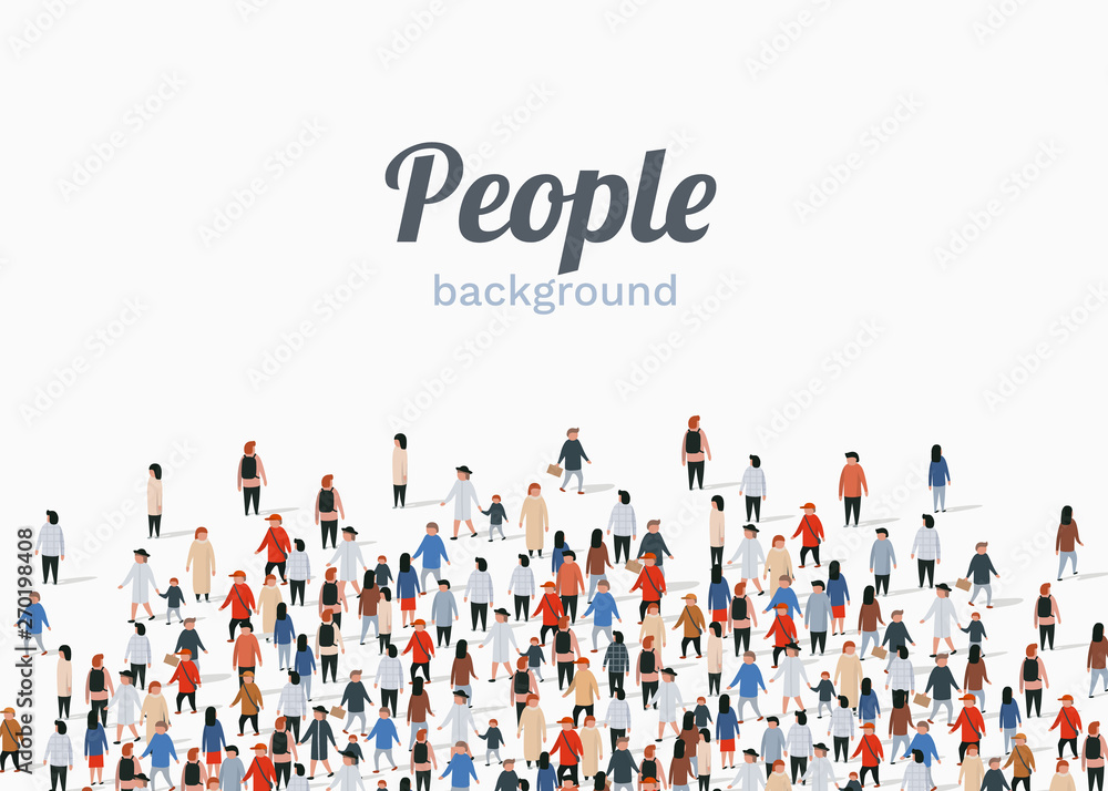 Fototapeta Large group of people on white background. People communication concept.