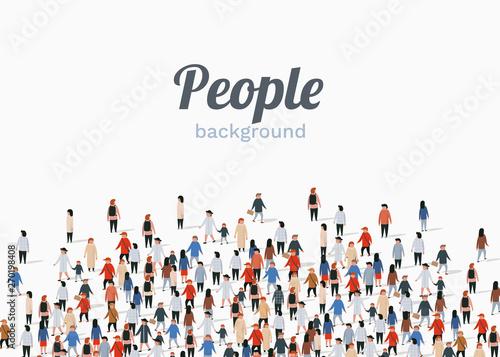 Carta da parati Large group of people on white background