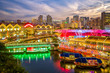 canvas print picture - aerial view of Clarke Quay in singapore at night