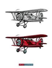 Hand Drawn Retro Airplane. Rea...