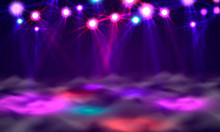 Dance Floor Banner, Light And Smoke On Stage.