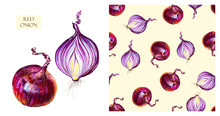 Watercolor Red Onions. Seamles...
