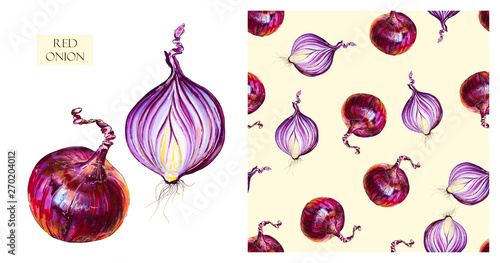 Photo Watercolor red onions