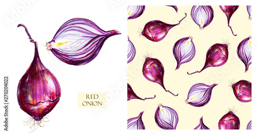 Fotografía  Watercolor red onions