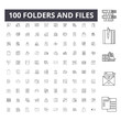 Folders and files line icons, signs, vector set, outline concept illustration