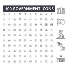 Government Line Icons, Signs, ...