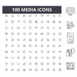 Media line icons, signs, vector set, outline concept illustration