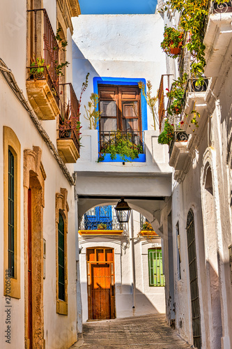 Canvas Prints Narrow alley Picturesque alley in the white town of Nijar, in southern Spain.