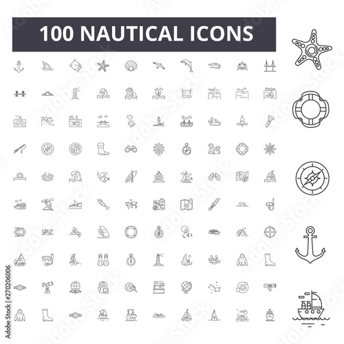 Fotografía Nautical line icons, signs, vector set, outline concept illustration