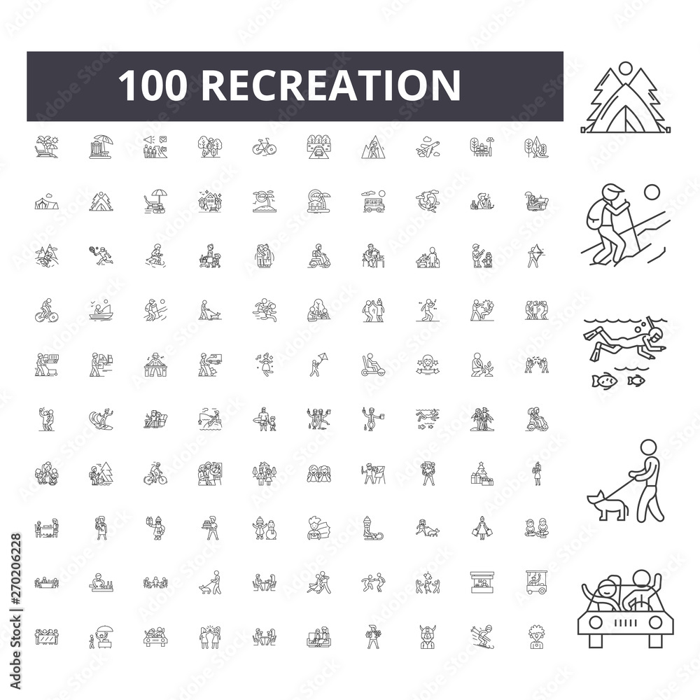 Fototapeta Recreation line icons, signs, vector set, outline concept illustration