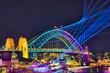 canvas print picture - Sy VIvid 19 Circ Quay Bridge Arch CLose