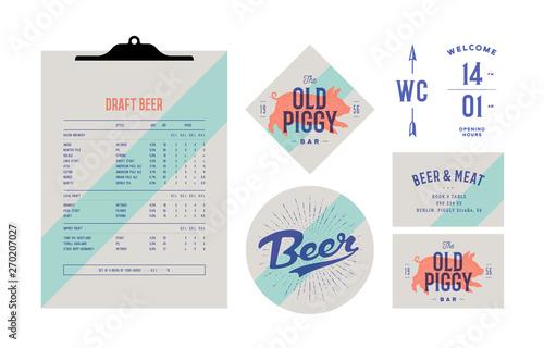 Photo sur Toile Les Textures Brand identity set for Beer Bar, Pub. Old school vintage label