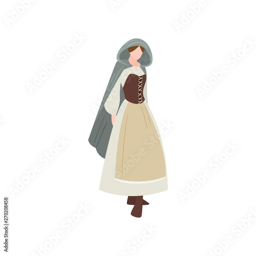 Cute medieval sexy woman in long dress with leather corset Canvas-taulu