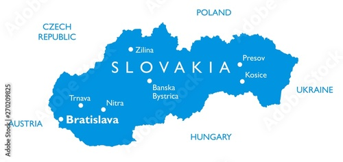 Obraz na plátně Vector map of Slovakia | Outline detailed map with city names