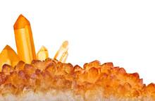 Bright Orange Citrine Large Crystals Strip Isolated On White