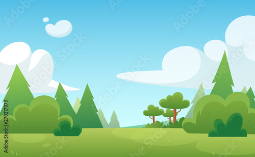 Photo sur Aluminium Piscine Cartoon background for game and animation. Green forest with blue sky and clouds. Landscape.