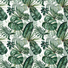 Watercolor Seamless Pattern With Tropical Leaves: Palms, Monstera, Passion Fruit.