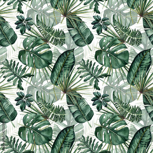 Tapeta zielona  watercolor-seamless-pattern-with-tropical-leaves-palms-monstera-passion-fruit