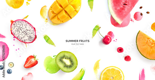 Creative layout made of dragonfruit, melon, watermelon, cherry, kiwi, strawberry, mango on the watercolor background. Flat lay. Food concept. - 270218600