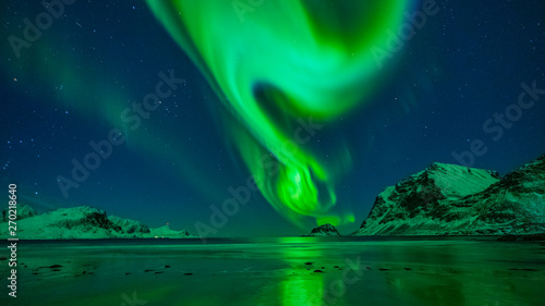 Printed kitchen splashbacks Northern lights Aurora Borealis Lofoten