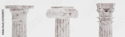 Realistic 3d Render of Columns (Doric, Ionic and Corinthian) Billede på lærred