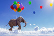canvas print picture - 3D Illustration fliegender Elefant mit Luftballons