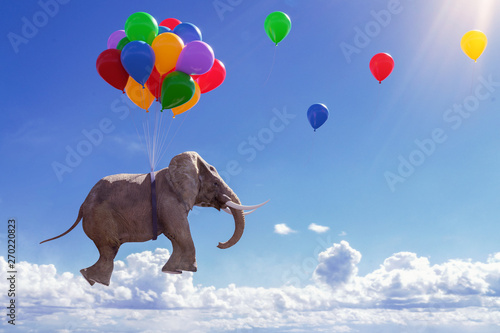 Photographie 3D Illustration fliegender Elefant mit Luftballons