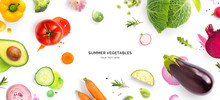 Creative Layout Made Of Tomato, Cucumber, Pepper, Onion, Carrot, Beetroot, Eggplant, Cabbage, Garlic, Broccoli And Green Beans On The Watercolor Background. Flat Lay. Food Concept.