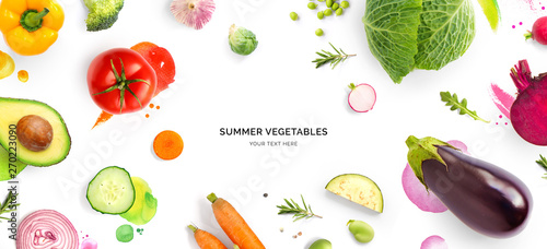 Aluminium Prints Food Creative layout made of tomato, cucumber, pepper, onion, carrot, beetroot, eggplant, cabbage, garlic, broccoli and green beans on the watercolor background. Flat lay. Food concept.