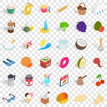 Coffee Icons Set. Isometric Style Of 36 Coffee Vector Icons For Web For Any Design