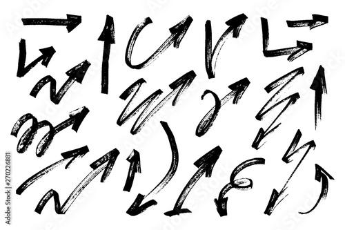 Set of hand drawn grunge arrows. Vector illustration. Poster Mural XXL