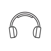 Black And White Headphones Icon- Vector Illustration