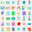 Communication icons set. Cartoon style of 36 communication vector icons for web for any design