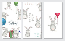 Set Of Birthday Greeting Cards And Party Invitation Templates With Cute Bunnies. Vector Illustration