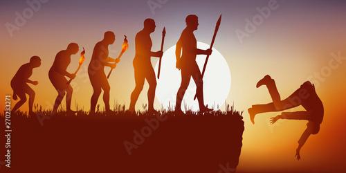 фотография  Concept de la disparition de l'espèce humaine avec le symbole de Darwin montrant l'évolution de l'homme aboutissant à une impasse et à une chute dans le vide