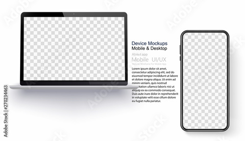 Foto  Realistic laptop and smartphone isolated on transparent background