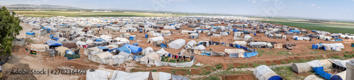 Canvas Prints Camping AZEZ, SYRIA – MAY 19: Refugee camp for syrian people on May 19, 2019 in Azez, Syria. In the civil war that began in Syria on 2011, 12 million people were displaced.