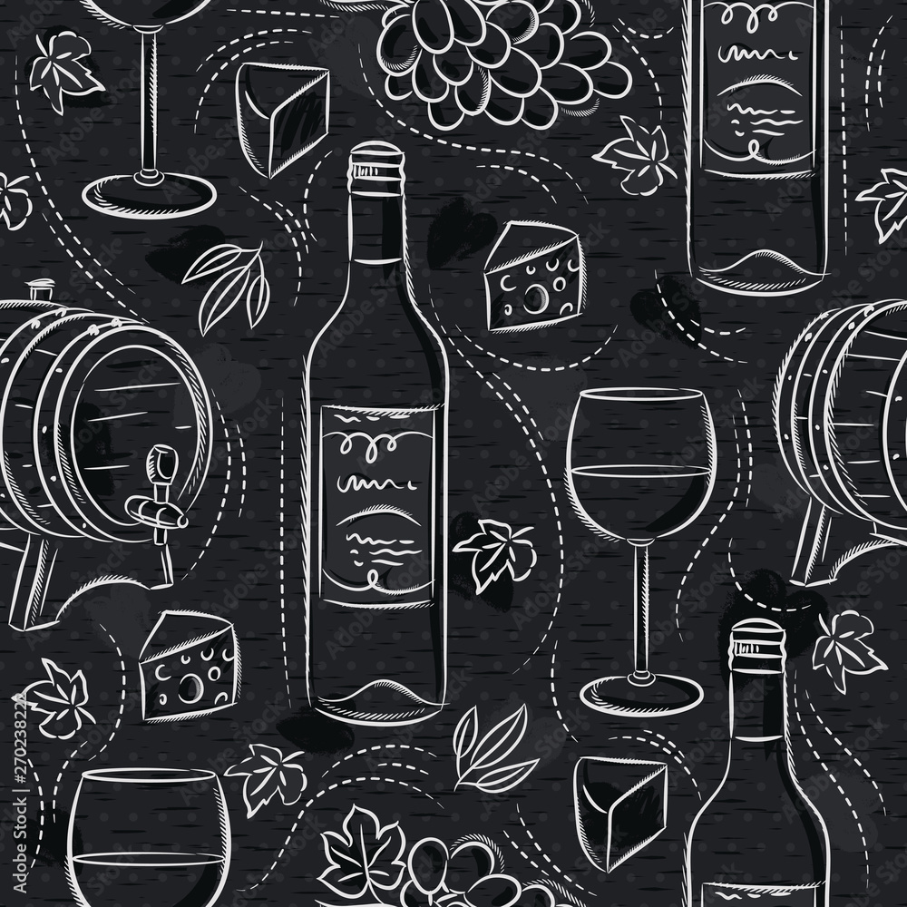 Seamless patterns with red wine set, cask, barrel, wineglass, grape and cheese on black chalkboard. Ideal for printing onto fabric and paper or scrap booking.
