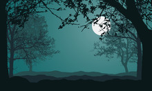 Illustration Of Landscape With Forest, Trees And Hills, Under Night Green Sky With Full Moon And Space For Text, Vector
