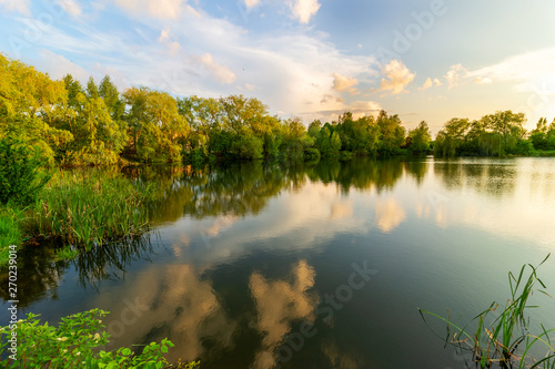 Canvas Prints Blue Beautiful lake in the summer