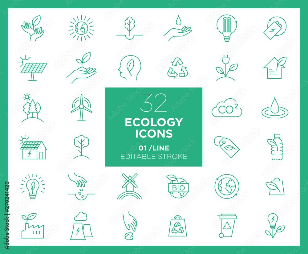Fototapeta Set of Ecology icons in line
