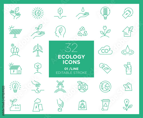 Photo Set of Ecology icons in line