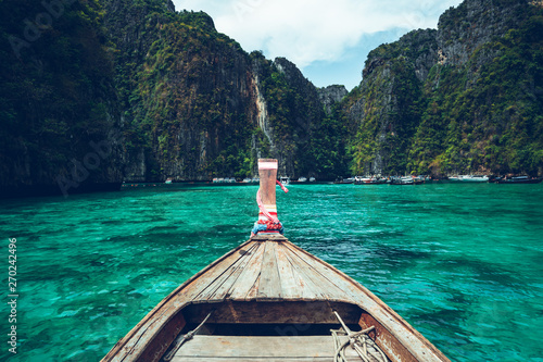 Long-tail boat travel to the island,Phi Phi Island,Blue sea Canvas Print