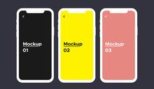 Mobile Phone Screen 3 Color With Blank Screen Isolated On Background