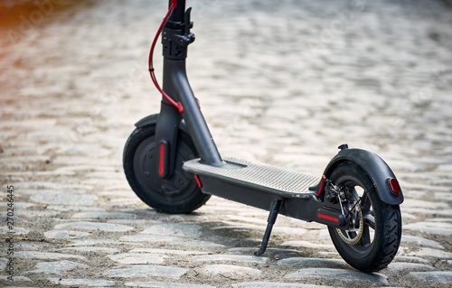 Fotografía  The electric scooter is the most environmentally friendly means of transport on the street